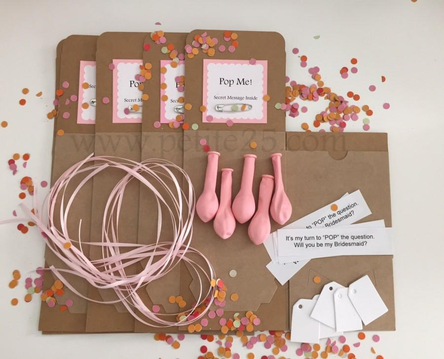 Hochzeit - Set of 3 kits- DIY Pop the Balloon kit, secret message inside, will you be my bridesmaid, proposal