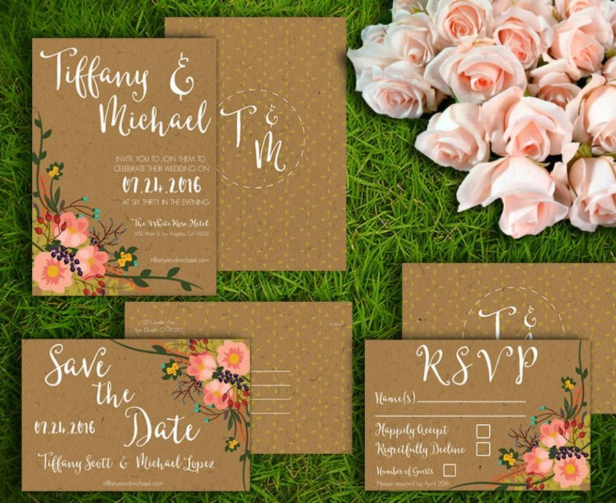 زفاف - Printable Wedding Invitation Set - Customizable Wedding Invites - DIY Wedding Invitation, RSVP, Save the Date Kraft Paper, Floral Style