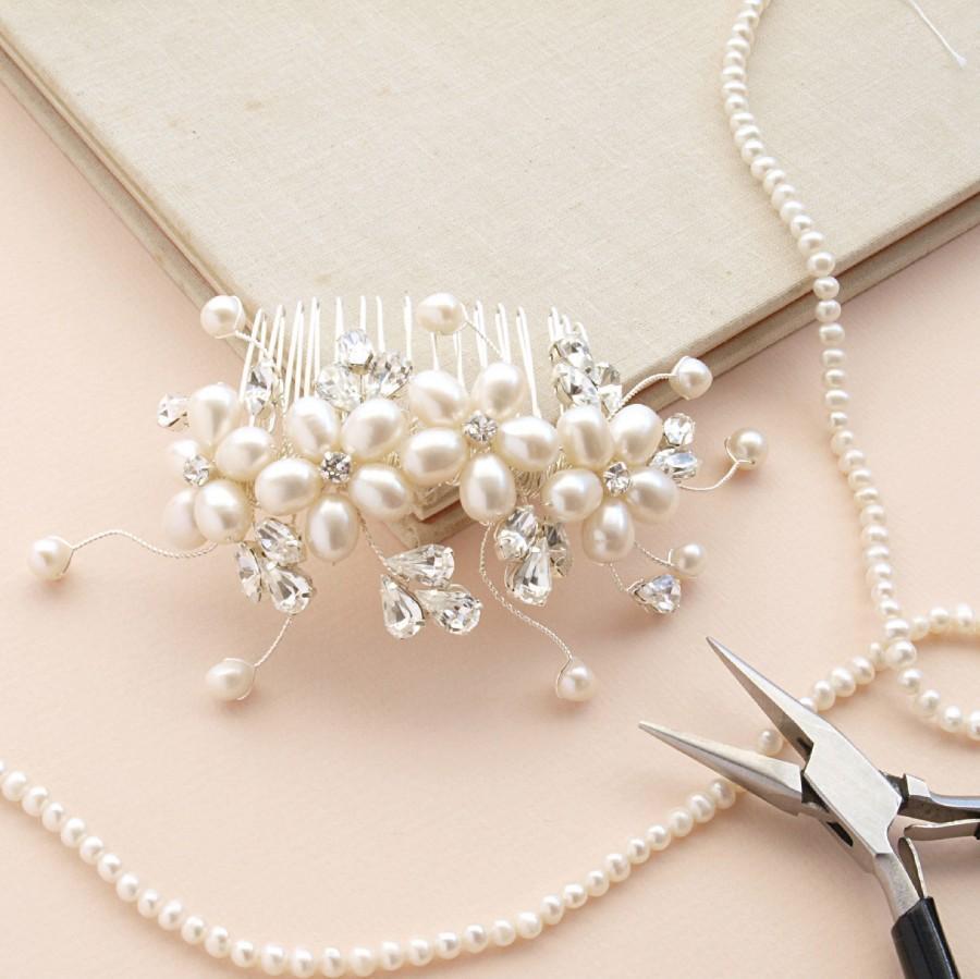 Dew Pearl Hair Comb Flower Accessories Ivory Bridal Swarovski Rhinestones Wedding Headdress Bridesmaid Etsy Uk Vintage