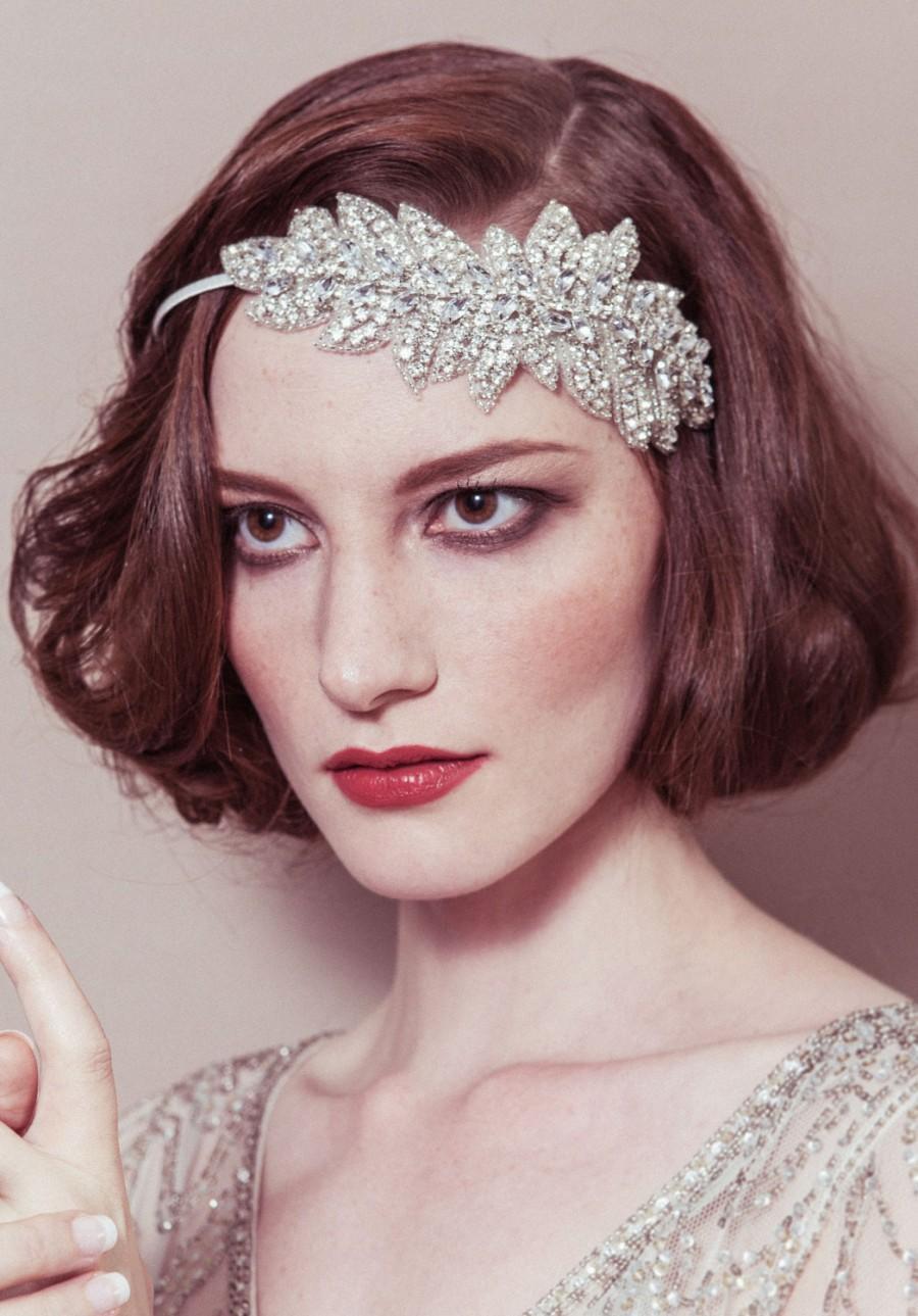 Свадьба - Wedding headband - 'Lauren' rhinestone crystal leaf bridal headpiece