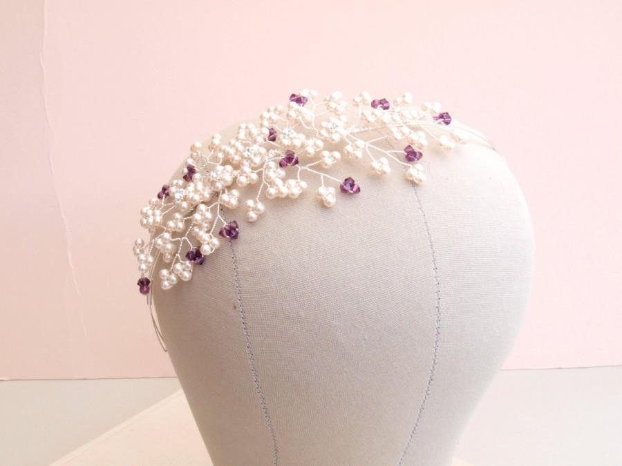 Свадьба - Bella Bridal Side Tiara Ivory Pearl Cluster Headdress Amethyst Purple Wedding Headband Flower Bridesmaid Tiara