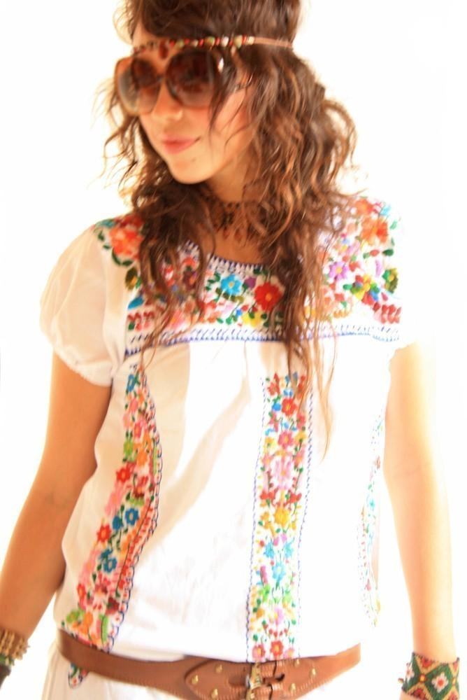 Peace Lover Vintage Mexican Embroidered White Dress San Antonino Inspired