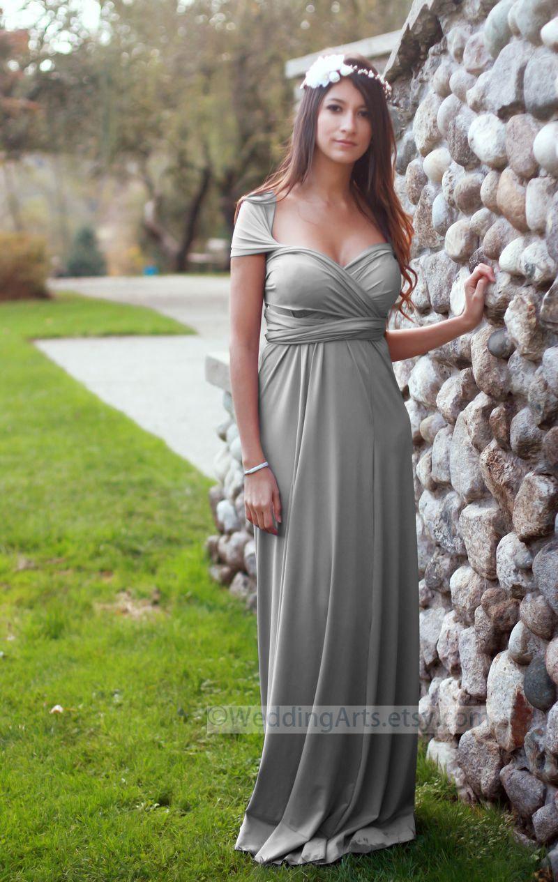 Silver Gray Infinity Convertible Dress Wedding Arts Wrap Bridesmaids ...