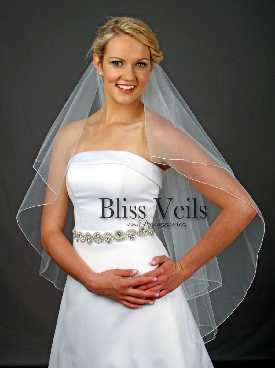 Mariage - Pencil Edge Wedding Veil, Fingertip Length Bridal Veil, 2 Layer Veil