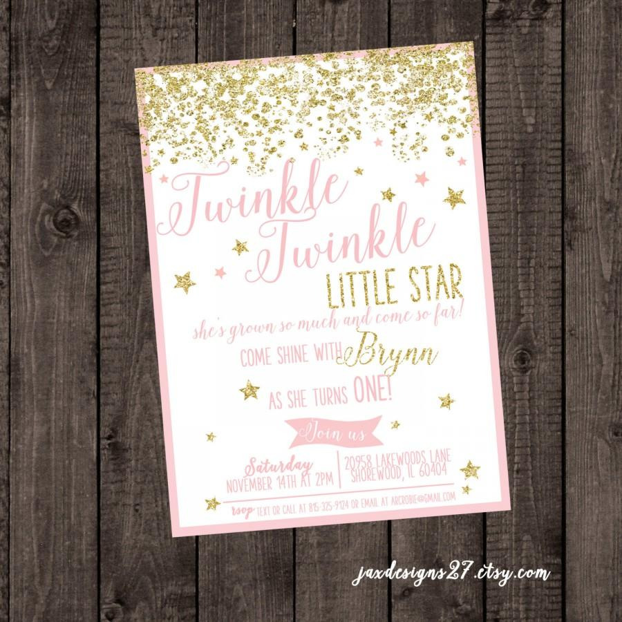 Wedding - Digital File Twinkle Twinkle Little Star, Pink Birthday Invitation, Glitter Birthday Invitation, Blush and Gold Birthday