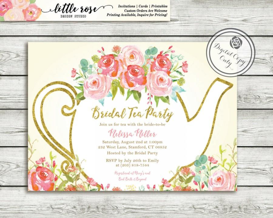 Garden Tea Party Bridal Shower Invitation High Invite Wedding Hand Painted Roses Printable Lr1051