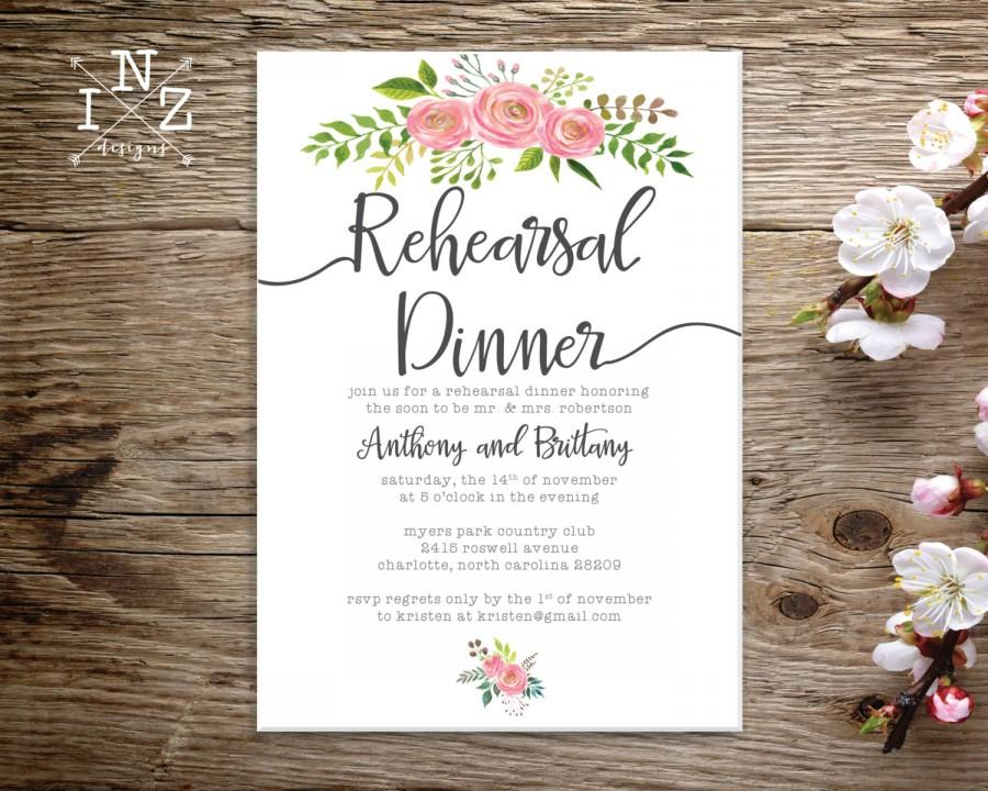 image regarding Printable Rehearsal Dinner Invitations referred to as Printable Rehearsal Supper Invitation - Floral Rehearsal