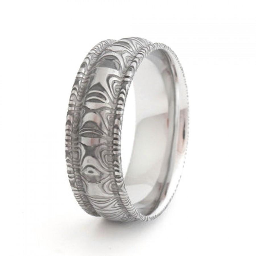 Свадьба - Stainless Steel Damascus Wedding Ring