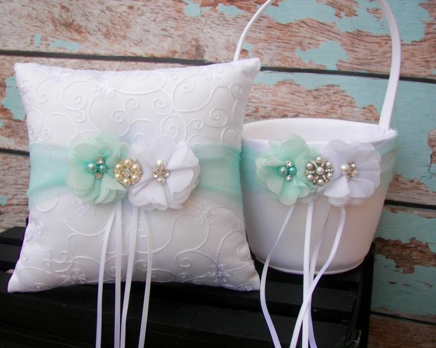 Your Colors Flower Girl Basket And Ring Bearer Pillow Set Mint Wedding