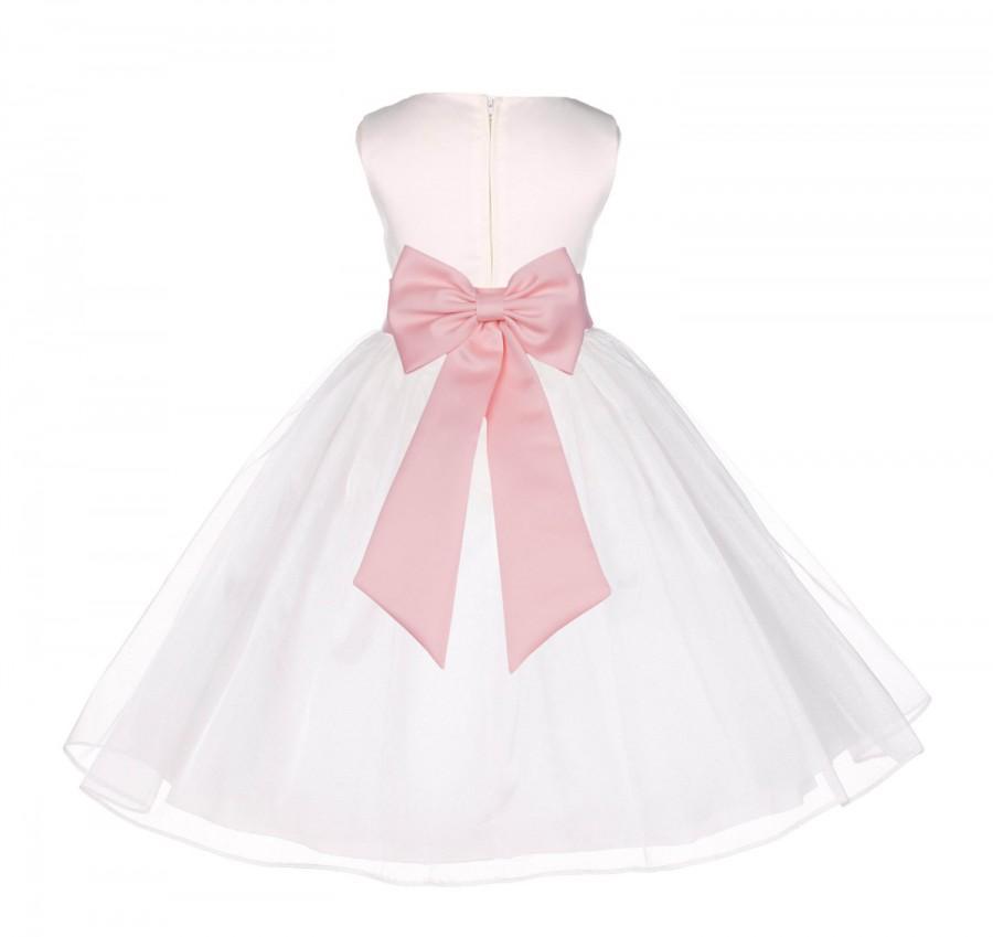 f0e37d459a2 Ivory Flower Girl dress pageant organza tiebow sash wedding bridal recital  children bridesmaid junior princess 12-18m 2 4 6 8 10 12