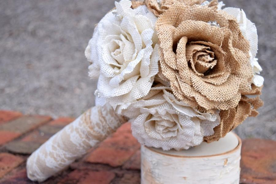 Hochzeit - Burlap Bouquet - Shabby Chic Wedding - Rustic Wedding - Rustic Burlap Bouquet - Wedding Burlap Bouquet