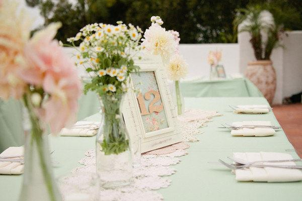 Mariage - Mint Tablecloths, Overlays, and Table Napkins