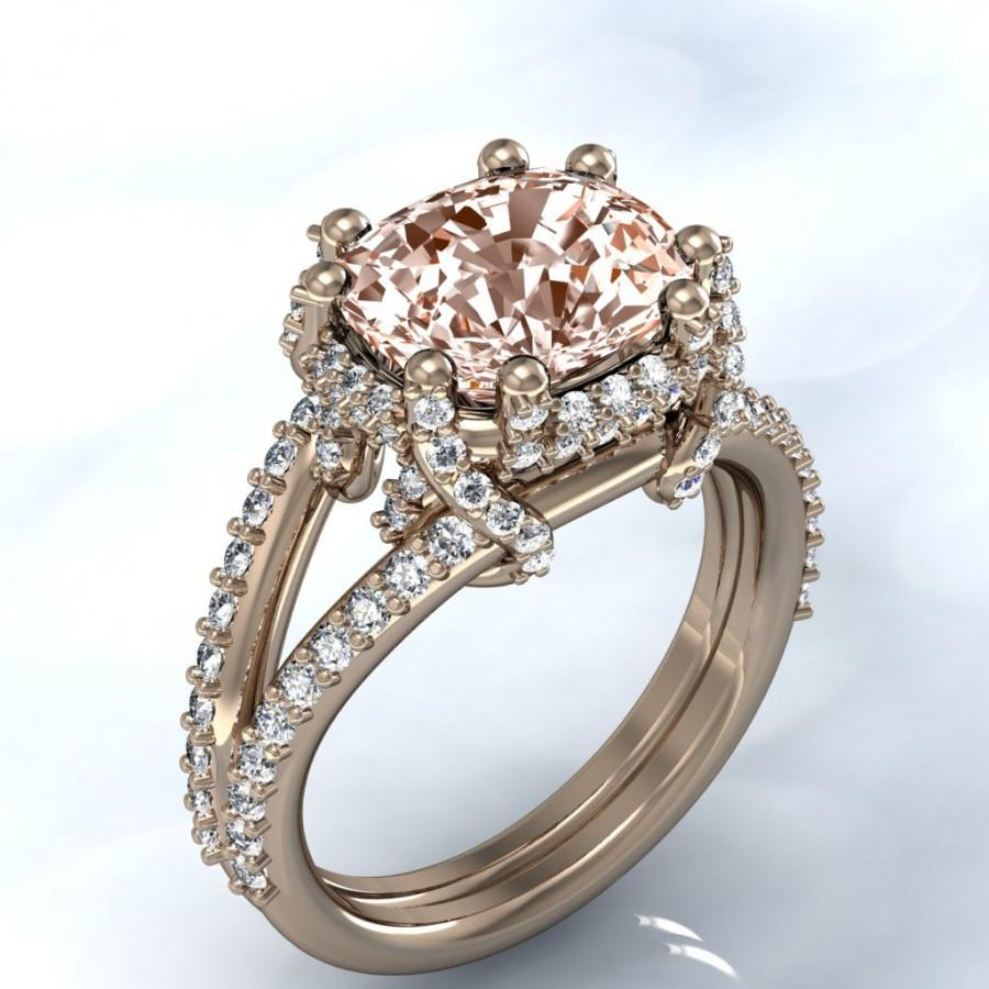 unique rose gold cushion morganite and diamond halo engagement