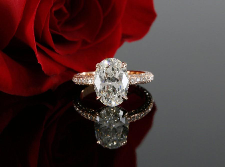 Mariage - 11x9mm Oval Forever Brilliant Moissanite and Diamond Solitaire Engagement Ring in 14k Rose Gold (avail. in white, yellow gold and platinum)