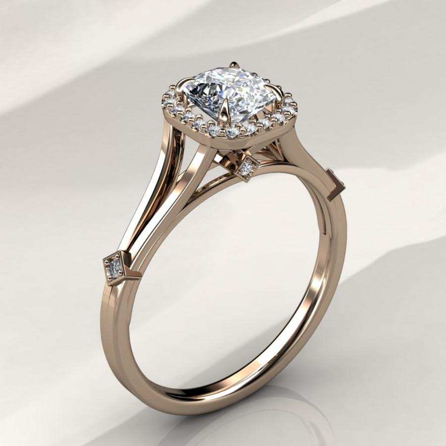 Свадьба - 6mm Cushion Forever Brilliant Moissanite Halo Engagement Ring (available in white gold, rose gold, yellow gold and platinum)