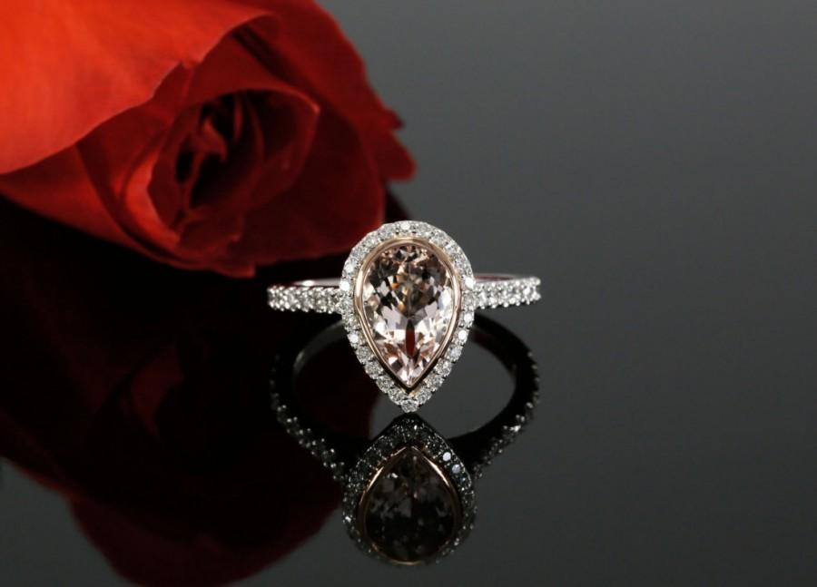 Свадьба - Pear Shape Morganite and Diamond Engagement Ring, Bezel set Morganite Ring, Two Tone Gold Engagement, 14K Rose and White gold, Wedding Set
