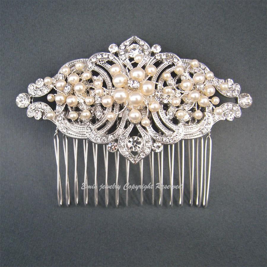 Mariage - Art Deco Wedding Hair Accessories,Vintage Style Bridal Hair Comb,  Ivory Swarovski Pearls Rhinestone Hair Head Pieces Vines Fascinator H1025