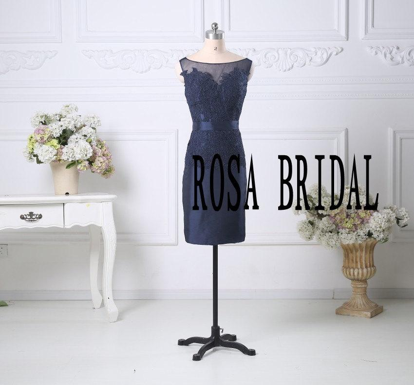 Wedding - Navy Mother of the Bride Dress with Jacket, Navy prom dress,  Formal dress with 3/4 sleeves Jacket, Taffeta prom dress  Custom Size Color