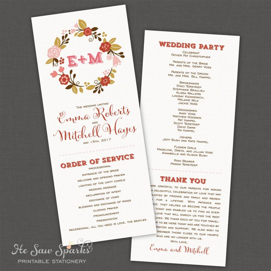 "Mariage - Printable Wedding Program - Floral ""Love Wreath"""