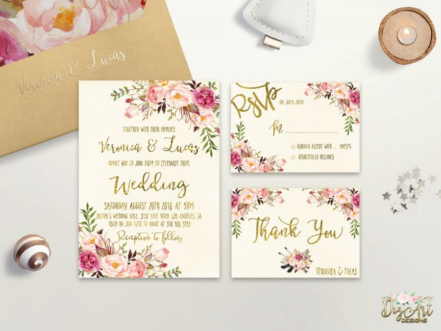 Mariage - Floral Wedding Invitation Printable Boho Chic Wedding Invitation Suite Bohemian Wedding Invite Gold Foil Typography Spring / Summer Wedding