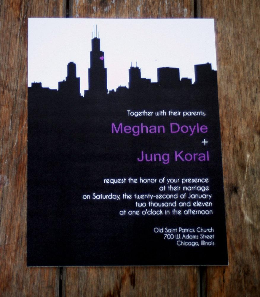 Modern Wedding InvitationsChicago Skyline Wedding InvitationNYC – Custom Wedding Invitations Nyc