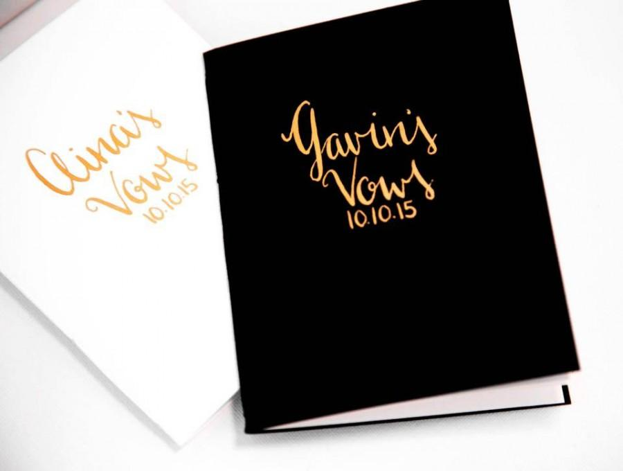 Mariage - Wedding Vow Books, Gold Wedding Vow Books, Black and White Vow Books, Wedding Vow Book Set, His and Hers Vow Books