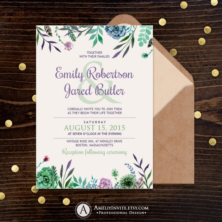 Mariage - Rustic Wedding Invitations, Printable Wedding Invitations, Wedding invitation template, Wedding Invitation Download, Rustic invitation