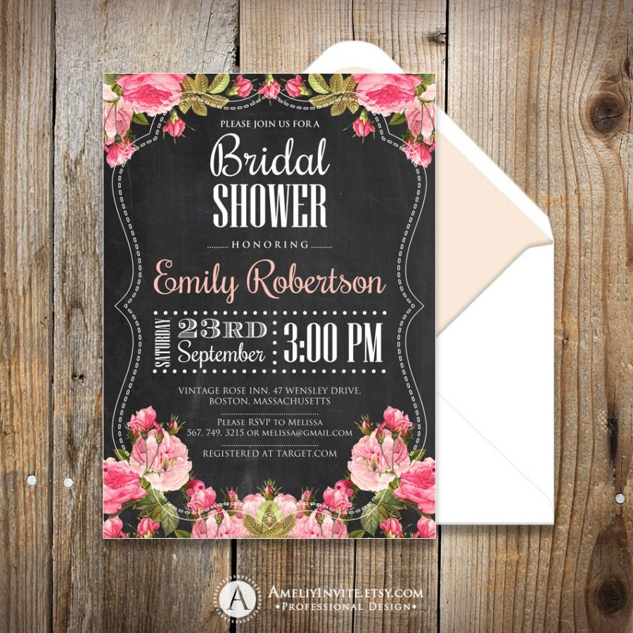 bridal shower invites printable chalkboard bridal shower invites shabby chic invitation bridal brunch invitation wedding shower invite