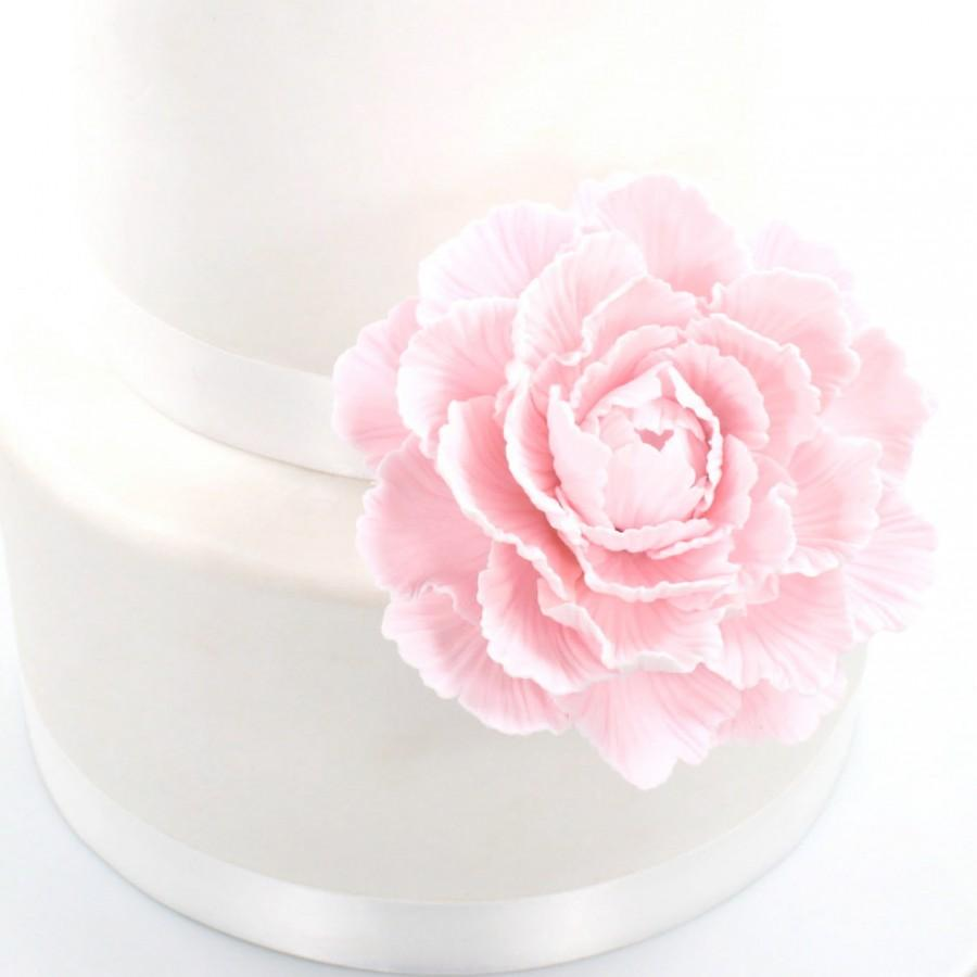 Свадьба - Pale Pink Peony Sugar Paste Wedding Cake Topper by lil sculpture
