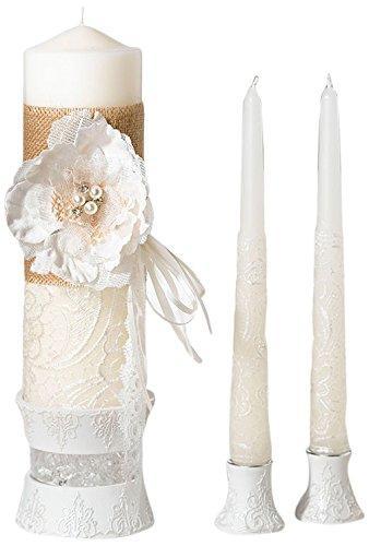 Wedding - Burlap and Lace Candle Set