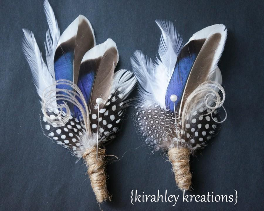 Mariage - THANDION -- Rustic Something Blue Mallard Feather Outdoor Wedding Ceremony Keepsake Boutonniere Lapel Buttonhole Duck Hunter Groom Groomsmen