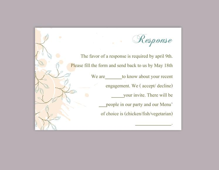 picture relating to Printable Rsvp Card named Do-it-yourself Marriage RSVP Template Editable Phrase History Prompt