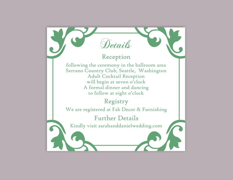 DIY Wedding Details Card Template Editable Word File Download – Wedding Information Card Template