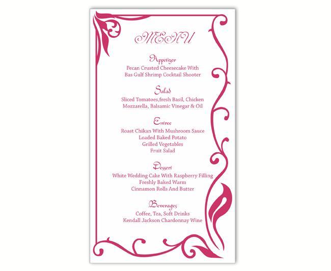 Свадьба - Wedding Menu Template DIY Menu Card Template Editable Text Word File Instant Download Fuchsia Hot Pink Menu Card Printable Menu 4x7inch