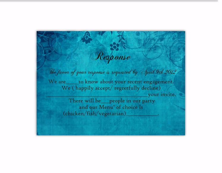 Hochzeit - DIY Rustic Wedding RSVP Template Editable Word File Instant Download Rsvp Template Printable RSVP Cards Blue Rsvp Card Vintage Floral Rsvp