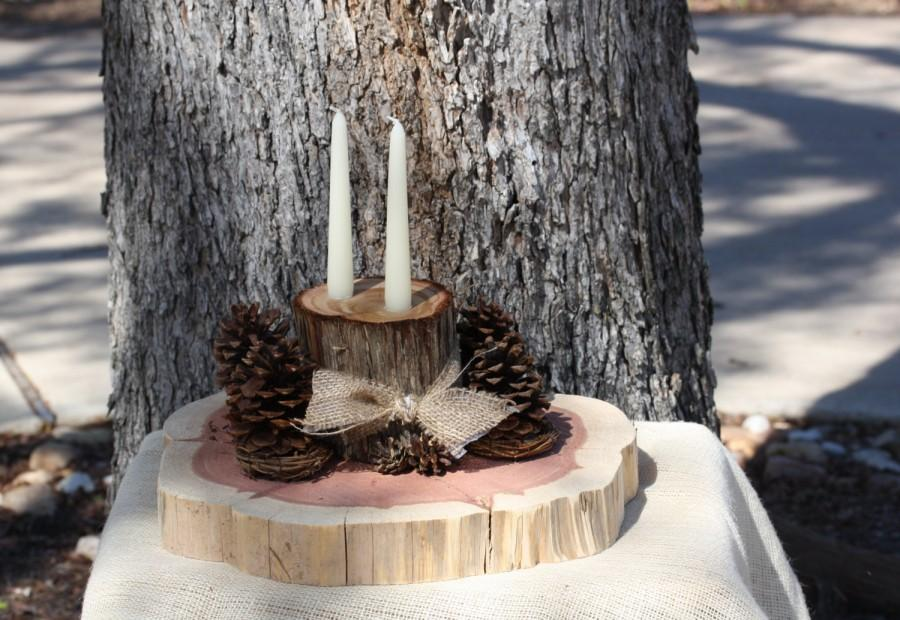 "Свадьба - Centerpiece with 2 candles, rustic cedar slices with pines cones, burlap, 14"" wide x 6.5"" tall, woodland, barn or outdoor wedding or party"