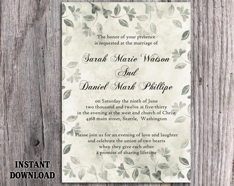 Diy Rustic Wedding Invitation Template Editable Word File Download