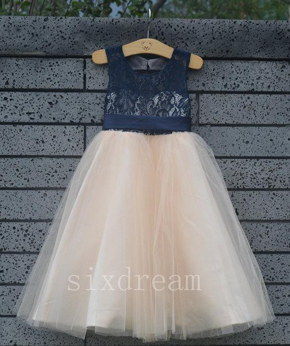 2ebee5394 Champagne Dress  Navy Blue Lace Navy Blue Ribbon Wedding Flower ...