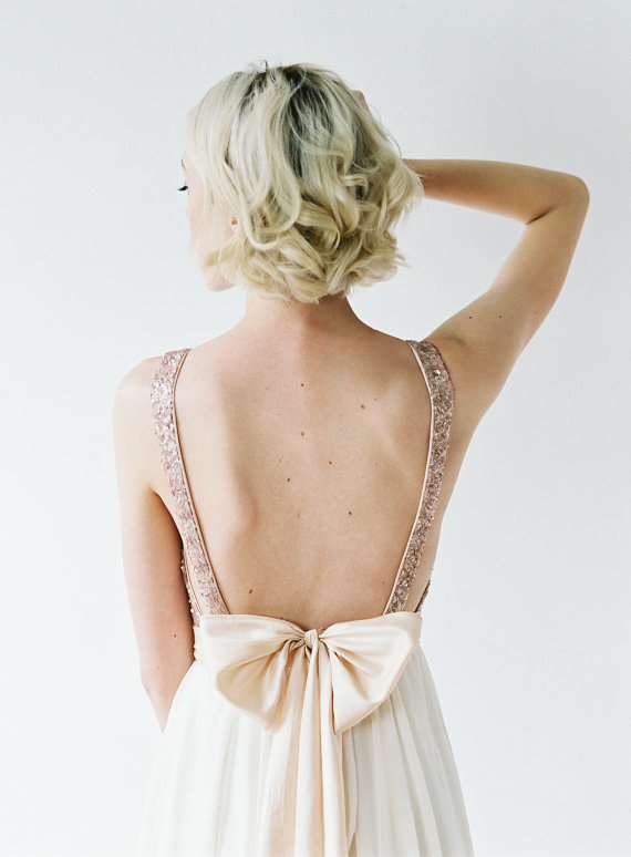 Christina's Bridesmaids - Rose Gold Sequin Plunging Top With Ivory ...