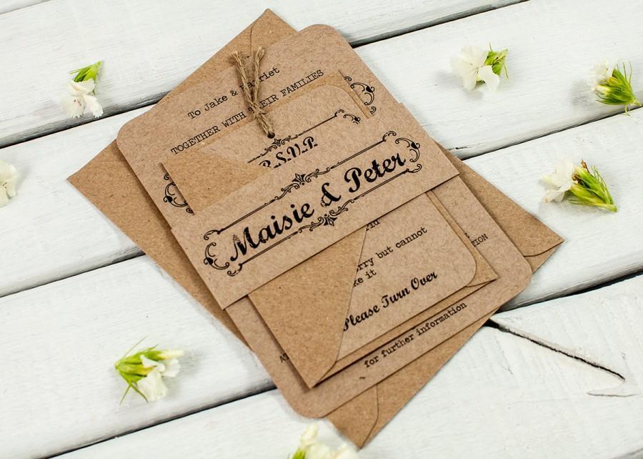 Mariage - Kraft Wedding Invitation Bundle - Rustic Wedding Invitation