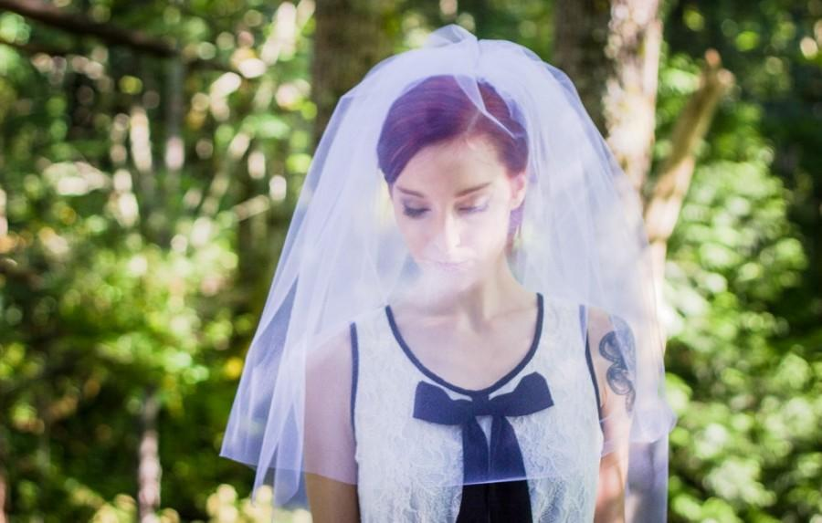 Mariage - Wedding Veil with Blusher Elbow Length 2 Layer Veil