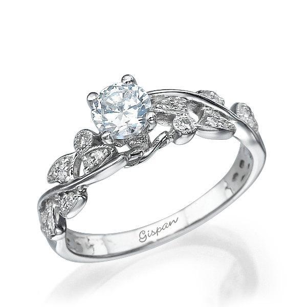 Свадьба - Leaves Engagement ring, Unique engagement ring, Antique Ring, Vintage Ring, Leaf Ring, white Gold Engagement Ring, Band Ring, woman ring