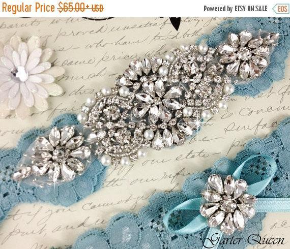 زفاف - 15% OFF Bridal garter set, SOMETHING BLUE Wedding Garter set, Heirloom Rhinestone and Crystal garters