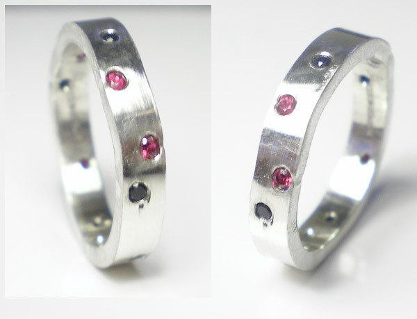 Свадьба - Ruby and Sapphire silver wedding ring