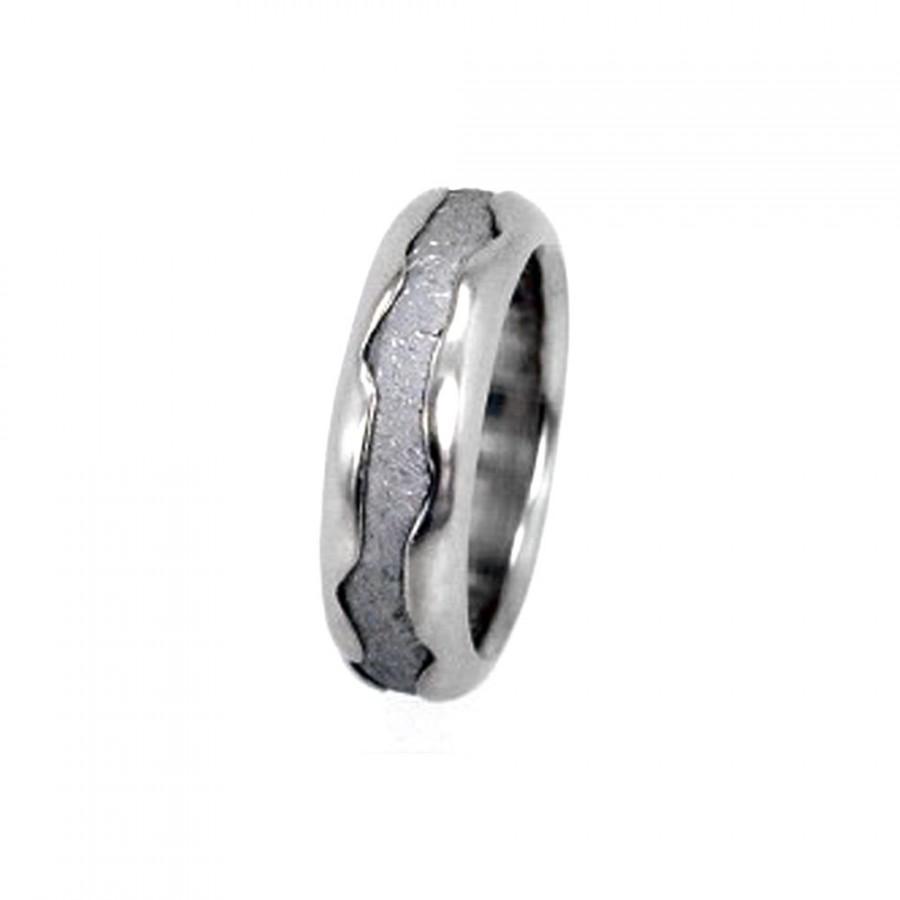 Свадьба - Meteorite Ring / Wavy White Gold Ring / Gibeon Meteorite Inlay