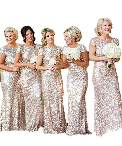 Wedding - Gold Mermaid Bridesmaid Backless Dress