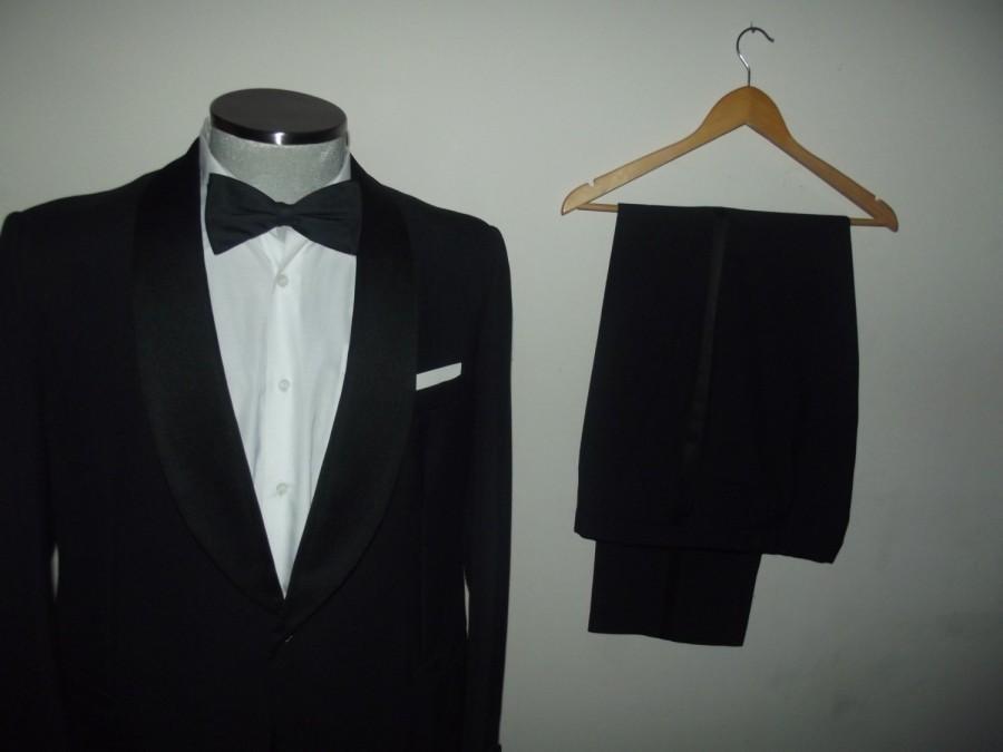 Mariage - Vintage HORNES Tuxedo Suit Jacket & Trousers / Wedding / Vtg Dinner Tux / Formalwear /Size 42 Regular / Large /Lrg / L / Tailored in Denmark