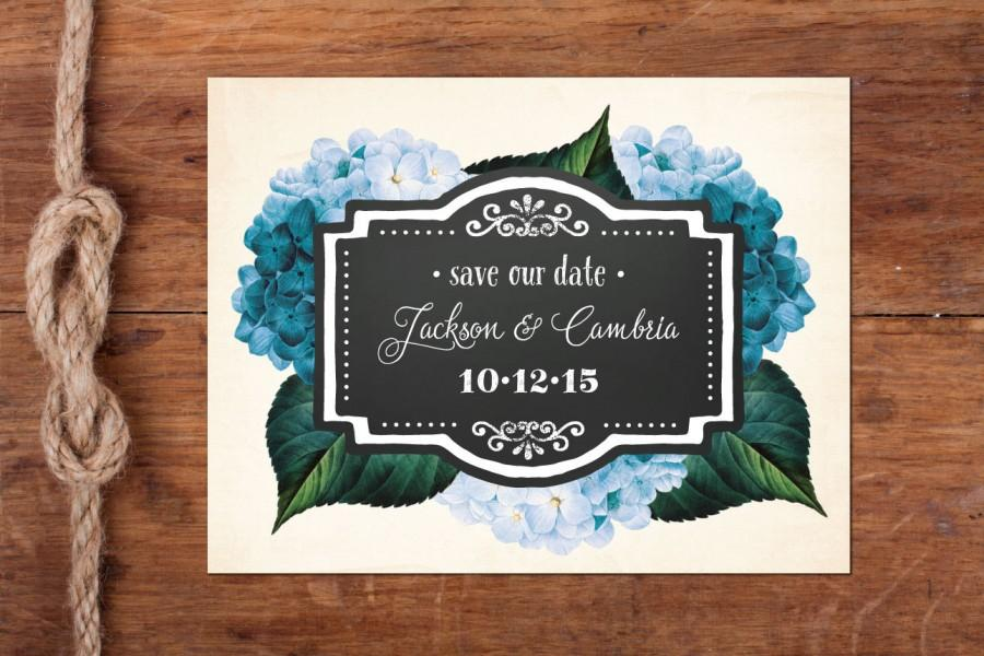 Mariage - Blue or Blush Hydrangea Vintage Save-the-Date Postcard