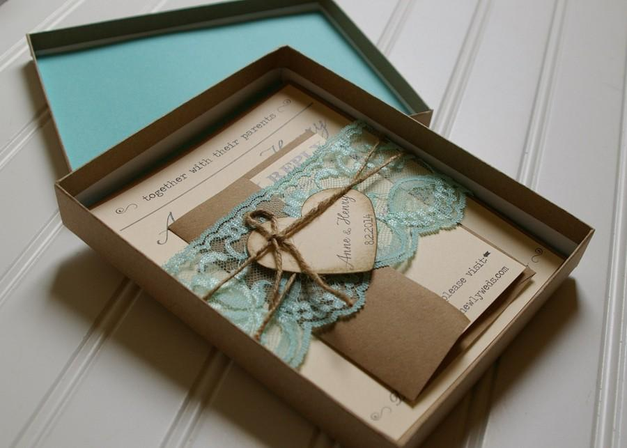 Rustic Wedding Invitations: Unique Boxed Lace And Twine Invites ...