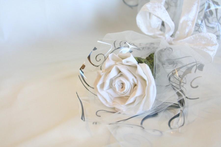 Wedding - White Rose Stem Handmade Fabric Flower Everlasting Bouquet for Wedding, Bridal Eco Friendly